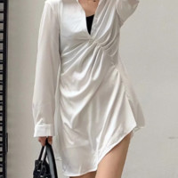 Folded lapel shirt skirt female niche simulation silk white irregular dress