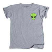 ALIEN Green Pocket T-Shirt, Unisex Gray Cotton Blend