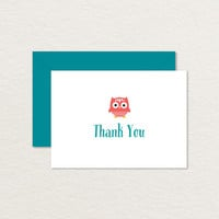 Little Owl 4 Bar Printable Thank You Card / Owl Stationery / Baby Shower Thank You