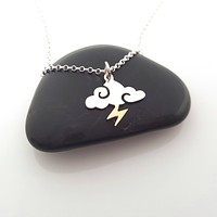 Storm Charm Necklace - Sterling Silver - Cloud and Lightning Necklace