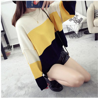 Casual Simple Stripe Knit Round Neck Long Sleeve Sweater