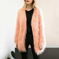 Luxury Faux Fur Coat Women Fluffy Warm Long Fur Outerwear Chic Female Autumn Winter Coats Long Mohair Jacket High Quality