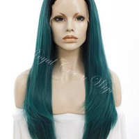 "24 inch Heat Safe Synthetic Straight Texture Lace Front ""Aphrodite"" in Rooted Dark Green"