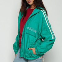 ADIDAS Windbreaker Jacket HOODIE Jacket Hood 90s Nylon Striped Hooded Green Stripe Sports Vintage Men Women Medium Large xl