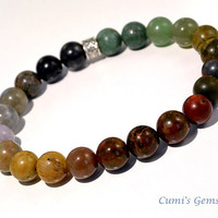 Gemstone bracelet, Men's bracelet, Boho men's jewelry, Jasper bracelet, Elastic, Tiger eye, cool bracelet, Power stone, Gift for him