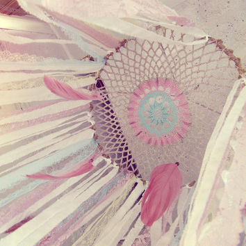 Hanging Mobile Canopy - Laces Baby Crib Crown - Boho Nursery Decor - Dream catcher Canopy - Gypsy Baby Bedroom - Bohemian Decor