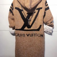 PEAPOP7 LV Hooded Sweater Knit Cardigan Jacket Coat