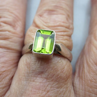 925 sterling genuine peridot ring August birthstone genuine peridot silver peridot jewelry sterling peridot gemstone ring August birthstone