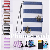 """NEW Stripes Anchor Luxury PU Leather Card Wallet Phone Case Bag Cover Skin For Apple iPhone 6 4.7""""/iPhone 6 Plus 5.5"""" = 1705289924"""