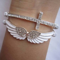 Wing And Cross Bracelet