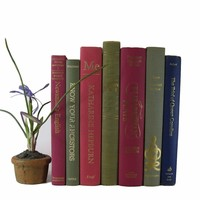 Pink and Green Decorative Vintage Books by Color, S/7