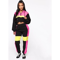 fhotwinter19 Explosion style two-piece fashion contrast drawstring hoodie