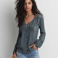 AEO Pintucked Button Down Shirt, Teal