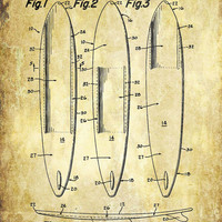Surfboard Patent Print - 1965 Patent Poster - Surfboard Patent - Surfing - Faux Vintage