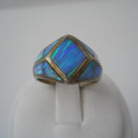 Sterling Silver 925 Panel Opal Ring Size 9.5-10 Lots Of Color .925