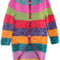 Girls cardigan 8 - 10 year old yellow red pink turquoise long colorful striped wool sweater Girls' Clothing knitwear hand knitted outwear