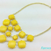cute yellow resin necklace, fashion handmade bib Necklace/glitter Statement Bubble choker,bridesmaid gifts,unique Beaded  Jewelry torque