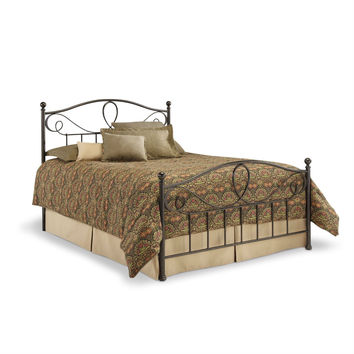 King Size Metal Bed with Headboard & Footboard in French Roast Finish