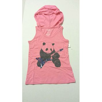 Old Navy Girls Tee Shirt Size XS 5 Hoodie Pink Panda Bear Print