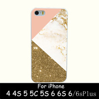 gold marble collage Style Hard White Case Cover for iPhone 4 4s 5 5s 6 6s 6 plus Back Print Design