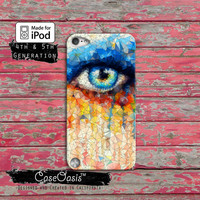 Eye Art Watercolor Paint Melt Glass Shatter Tumblr Case iPod Touch 4th Generation or iPod Touch 5th Generation or iPod Touch 6th Gen Rubber
