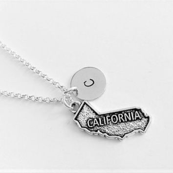Personalized initial state necklace, California necklace, home state jewelry, California pendant, friendship necklace gift for her custom