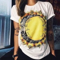 2018 Sunflower Cotton T Shirt Short Sleeve O Neck Personality Women Shirts
