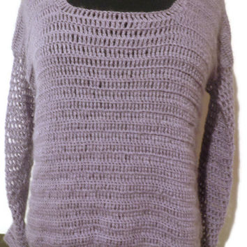 Lavender mohair crochet sweater with square neck, size small