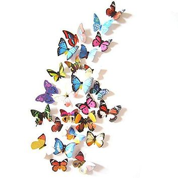 Amaonm 19 Pcs Removable DIY PVC 3D Colorful Butterfly Wall Sticker Murals Wall Decals Wall Decorations Art Decor Decal for Nursery Room Classroom Offices Kids Bedroom Bathroom Living Room(Color B) color B
