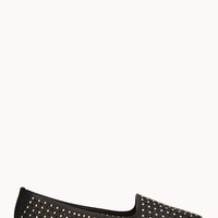 FOREVER 21 Total Stud Perforated Loafers Black