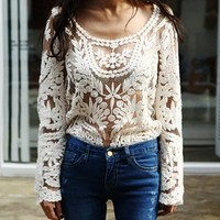 Loose Hollow Crocheted Lace Top