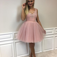 Blush Pink Tulle Homecoming Dress, Short Homecoming Dress Party Dress