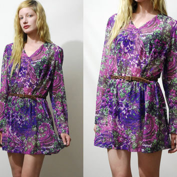 70s Vintage FLORAL DRESS Sheer Watercolour Abstract Print Mini Purple Long sleeve Hippie Bohemian 1970s vtg M L