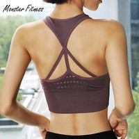 Monster Women Seamless Sports Bra for Fitness Gym Yoga Running Pad Cropped Top SportsWear Tank Tops Sports Seamless Bra Women