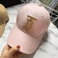BURBERRY Summer Popular Women Men Embroidery Sun Hat Baseball Cap Hat Pink