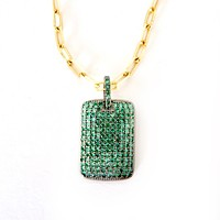 Natural Green Onyx Tag Pendant Italian Paperclip Chain Necklace