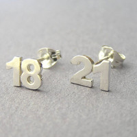 Custom Numbers Earrings - two Digits Studs - Personalized Jewelry - Hand Cut