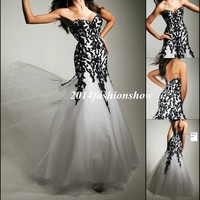 White/ Black Applique Mermaid Prom Ball Long Evening Party Formal Gowns US4---16