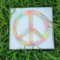 Neon Rainbow Peace Sign String and Nail Art Wooden Sign, Hippy Home Decor, Ready to Ship, Unique Gift, Teen Decor