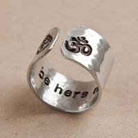 Be here now secret message ring, yoga ring, wideband hammered ring, customizable yoga ring, om ring, buddha ring, ready to ship RA002
