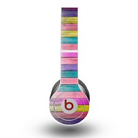 The Vibrant Neon Colored Wood Strips Skin for the Beats by Dre Original Solo-Solo HD Headphones