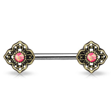 Glitter Opal Tribal Pink Flower Ends Silver Single Surgical Steel Nipple Barbells