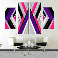 """Made to order- 57x36"""" Original abstract painting. Large painting. Girly painting with pink, purple. 4 piece canvas art. Modern wall art."""