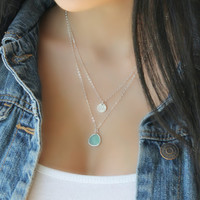 Sterling silver Layered Initial Necklace, aquamarine, sea-foam green, personalized stamped disc Double chain Letter, two 2 strands mint