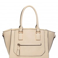 Harriet Beige Winged Structured Tote Bag