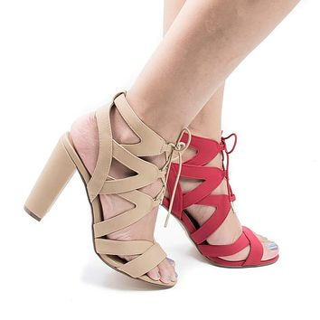 Mazie By Delicious, Cut Out Zig Zag Corset Lace Up Heeled Sandals