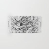 Bookmatched Skull Hand & Bath Towel by Kristy Patterson Design