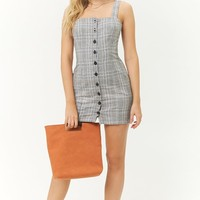 Plaid Button-Front Mini Dress