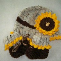 Sunflower Hat for Baby in Aaron and Brown Yarns,with Matching Booties