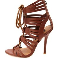 HeartSoul Rope Lace-Up Caged High Heels by Charlotte Russe